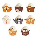 Woodland Creatures Cupcake Wrappers 24PCS Cupcake Holders for Woodland Creatures Baby Shower Decorations Forest Theme Party Birthday Party Supplies