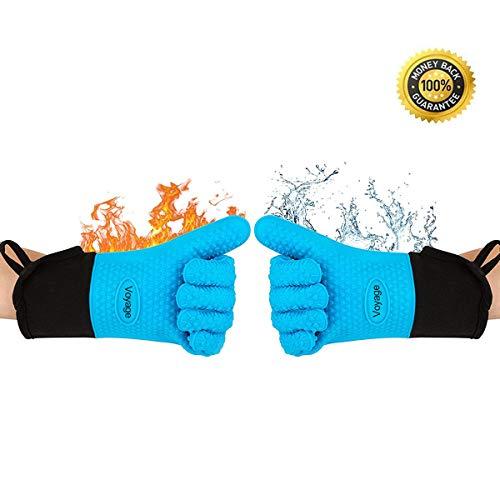 VOYAGE Premium Ofenhandschuhe (2er Set) bis zu 350°C - Silikon Extrem Hitzebeständige Grillhandschuhe BBQ Handschuhe zum Backen, Barbecue, Extra lange Topfhandschuhe für extreme Sicherheit (Blau)