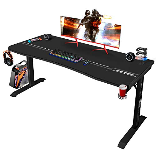 Furmax 63 Inch Gaming Desk T-Shaped PC Computer Table, Home Office Desk Carbon Fibre Surface Workstation with Free Full Coverage Mouse Pad, Cup Holder and Headphone Hook, Black