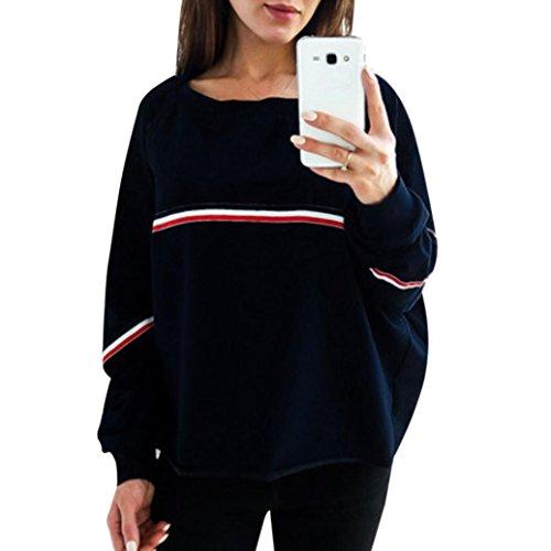 ESAILQ Damen beiläufige lose Lange Hülsen Sweatshirt Pullover Oberseiten Bluse (S, Marine)