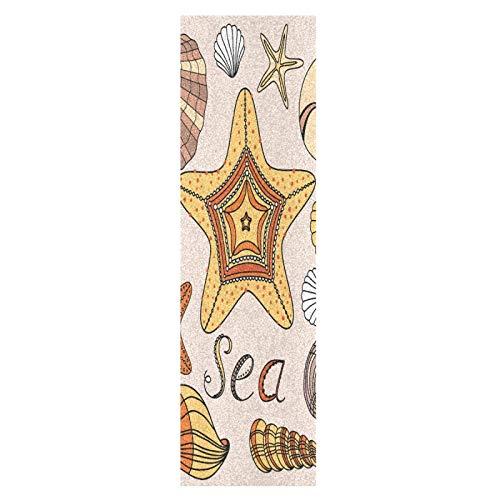Linda Estrella De Mar Concha De Mar Monopatín Papel de Lija Antideslizante Hoja Cinta de Agarre Lijas para Patineta Scooter Etiquetas engomadas (84 x 23 cm)