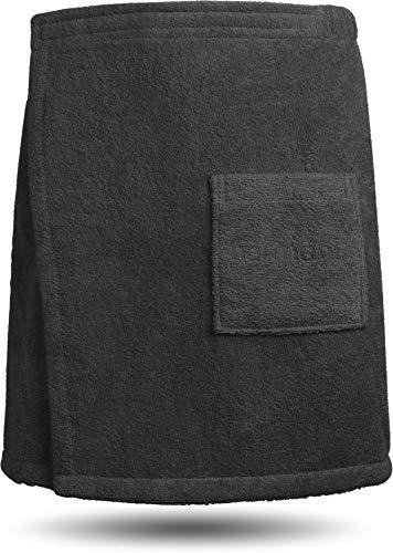 normani Saunakilt/Saunatuch für Herren -mit praktischem Schnellverschluss, 100% Baumwolle Farbe Schwarz Größe 160 cm x 50 cm