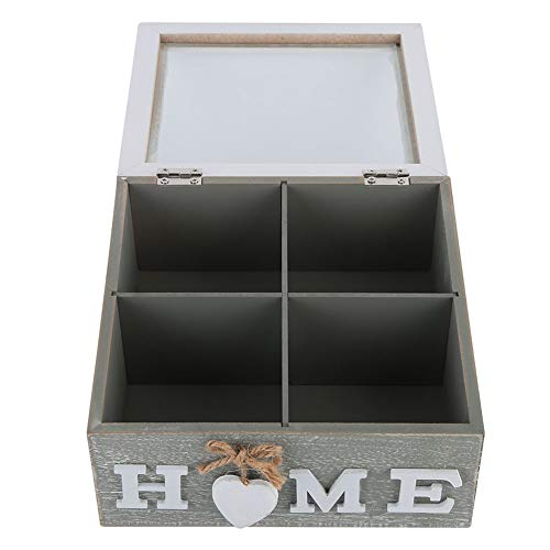 Caja de madera, compartimento de madera adecuado, 18 x 18 x 8,5 cm, bolsa de té con madera.