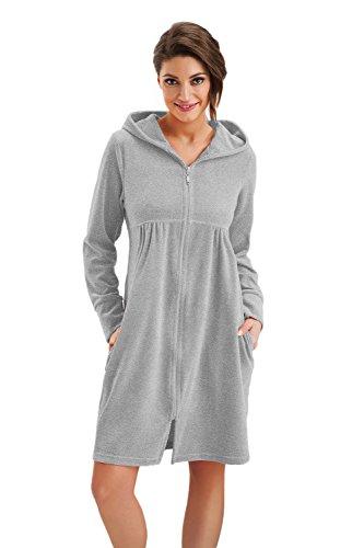 DOROTA kuscheliger und moderner Damen Baumwoll-Bademantel mit Taschen, Reißverschluss & Kapuze, made in EU, grau-melange, Gr. XL