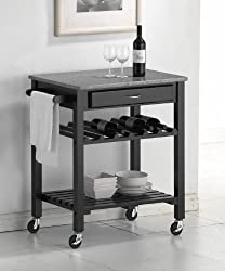 Wholesale Interiors Quebec Black Kitchen Cart with Granite Top