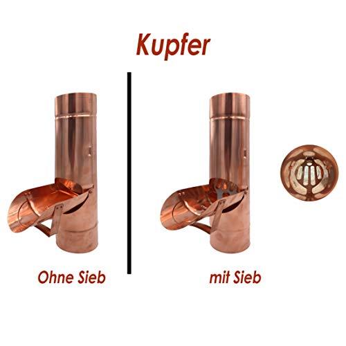 Regenrohrklappe OHNE Sieb Kupfer in den Größen 60, 76, 80, 87 und 100 mm (100 mm)