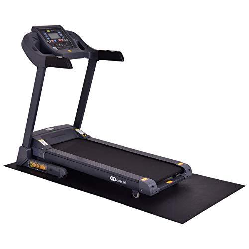 GOPLUS Schutzmatte rutschfest, Unterlegmatte für Laufband, Bodenschutzmatte beim Training, 197×91 cm, Rollbar, Dient auch als Fitnessmatte, Multifunktionsmatte für Fitnessgeräte Heimtrainer, Schwarz