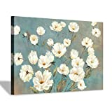 Abstract Floral Wall Art Painting: White Flower Canvas Artwork for Living Room