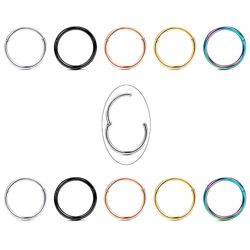 Jstyle 10Pcs 18G Stainless Steel Hinged Clicker Segment Nose Rings Hoop Helix Cartilage Daith Tragus Sleeper Earrings 8-12MM Improved