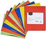 Amazon Basics - Cartelline sottili in carta manilla riciclata, con barra di compressione in metallo, 240 g/m2, A4, confezione da 10, colori assortiti