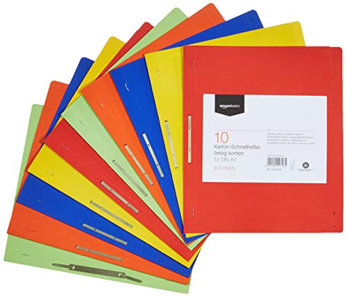 Amazon Basics - Archivos planos, Manila reciclada con barra comprensora de metal, 240 g/m2, tamaño A4, paquete de 10 unidades, colores variados