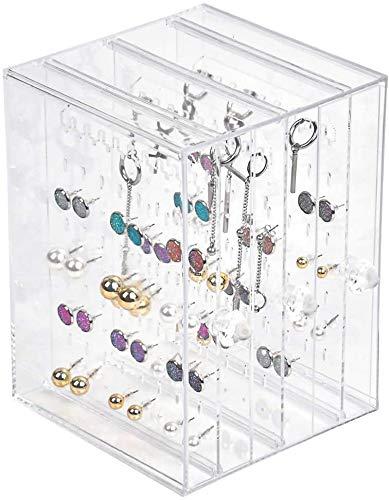 Caja de almacenamiento Pendiente transparente Bandejas de 270 orificios Organizador Maquillaje A prueba de polvo 3 cajones para joyería Collar Pulsera
