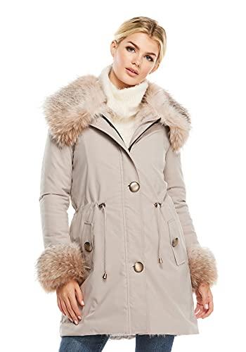 Truffle Faux Fur-Trimmed Anorak Storm Coat (3X) (Truffle)