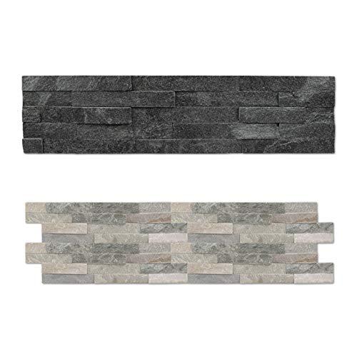HEXIM Naturstein Wandverblender - für den Innen- und Außenbereich, hohe Lebensdauer - (Klinkerriemchen Black Quartz, 12 Packungen) Verblendstein außen Mauersteine Stein Optik Schiefer