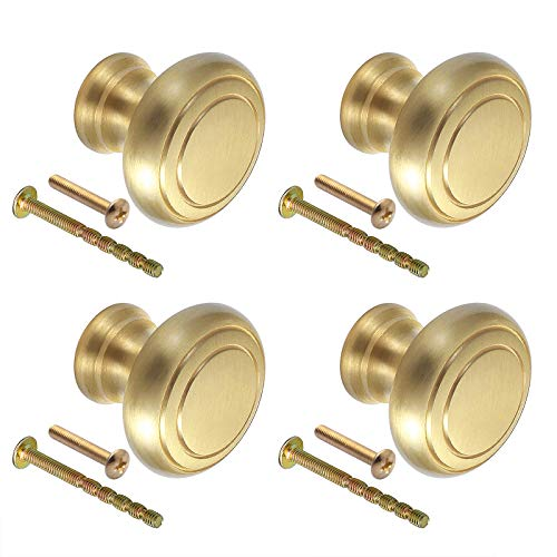 GBGS 4個セット 引き出し 取っ手 つまみ 真鍮取っ手 33mm 丸形 単穴 引き出しノブ ドア取っ手 キャビネット ワードローブ 食器棚 プルハンドル ネジ付き ゴールド
