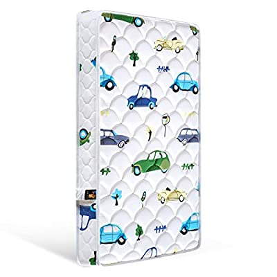 ?2020 Kids' Favorites? Bubble bear Foam Crib Mattress and Toddler Mattress -Comfortable and Breathable & Solid Safety Edge & Size:52X27.6X5?Cute car?