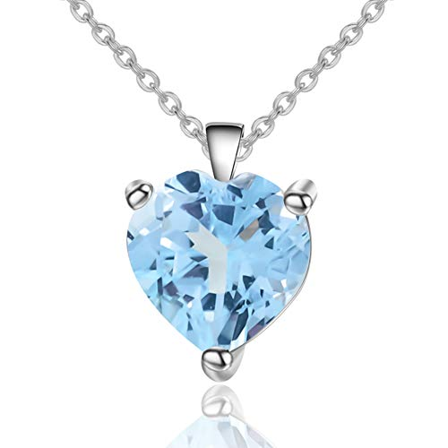 Qitian Jewelry Sky Blue Topaz Necklace - 925 Sterling Silver 1.47 CT Heart Necklace March Birthstone Necklace Pendant Birthday Anniversary Christmas Jewelry Gift for Women Girls