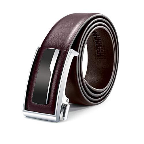 YWSZJ Estilo Minimalista Cinturón de Cuero de Cuero Genuino de Cuero Genuino Hombres Cinturones de Cuero Genuino Metal Hebilla automática (Color : C, Size : 110cm)