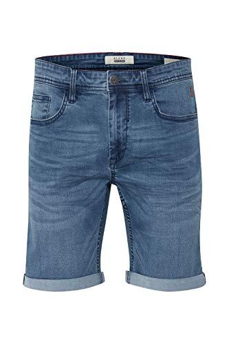 Blend Bendigo Herren Jeans Shorts Kurze Denim Hose elastisches Material mit Stretchanteil Slim Fit, Größe:L, Farbe:Denim middleblue (76201)