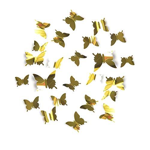 BDFV 24 Piezas 3d Mariposa Pegatinas de Pared,PVC Etiquetas Engomadas Mariposas Decorativas de la Pared, para adhesivos...