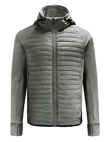 BALEAF Men's Lightweight Warm Puffer Jacket Winter Down Jacket Thermal Hybrid Hiking Coat Water Resistant Packable Olive XXL