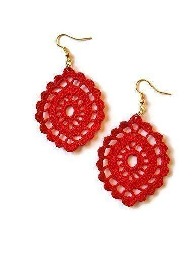 Pendientes de gota roja regalo de joyería de encaje para su crochet hecho a mano óvalo sicilia