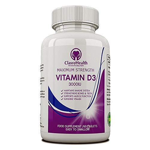 Vitamin D 3000 IU (Cholekalciferol) Vegetarian Micro Tablets Easy to Swallow / 60 Days Supply of Maximum Strength Vitamin D3 Supplement by ClassyHealth