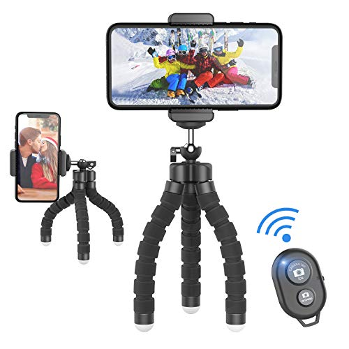 Jumkeet Trépied Smartphone Portable, Mini Trépied Flexible Support pour Téléphone avec Télécommande Bluetooth, 360° Trépied pour iPhone, Samsung, Huawei, Gopro, Appareil Photo, Camera, Style Octopus