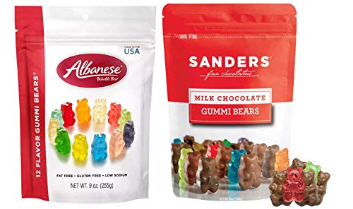 Chocolate Covered Gummy Bears by Sanders, 7 oz - Albanese World's Best 12 Flavor Gummi Bears, 9 oz...