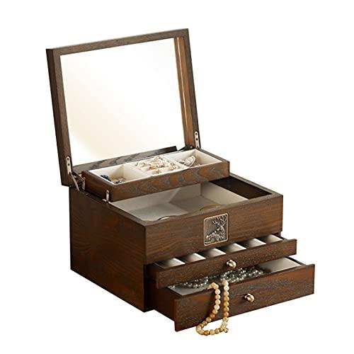 hkwshop Caja de Joyas Caja de joyería de Madera de Lujo de Madera Collar de Terciopelo Anillo Anillo Pendiente Reloj Organizador Joyería Almacenamiento Caja de Cofre Caja de Joyería