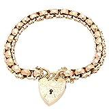 Jollys Jewellers Pulsera de eslabones de oro rosa de 9 quilates con candado de corazón de oro amarillo de 8.5 pulgadas