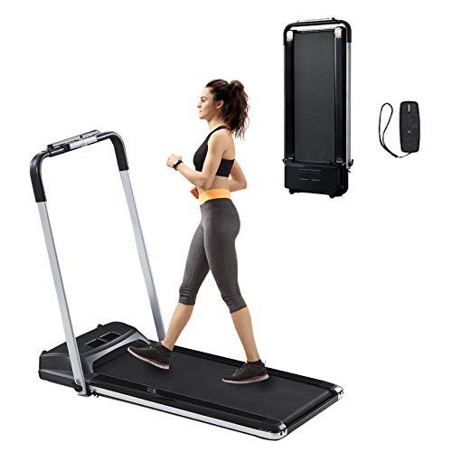 Estleys 2 in 1 Folding Under Desk Treadmill, Electric Portable Treadmill 2.25HP, Compact Treadmill, Mini Treadmill, Slim Treadmill Dual LED Display & Remote Controller, Installation-Free