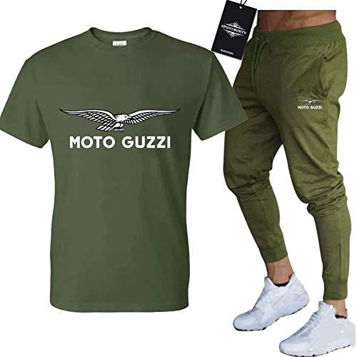 SPONYBORTY Männer Und Frauen T-Shirt Trainingsanzug Einstellen Zum Moto-GuZzi Zwei Stück Lange Hülse Tee Hose Sportkleidung Oben Kapuzenpullover Sport/Army Green/S