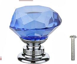 20 30 40mm Diamond Shape Design Crystal Glass Knoppen Kast Lade Pull Keukenkast Deur Garderobe Handvatten met Schroef-Blauw