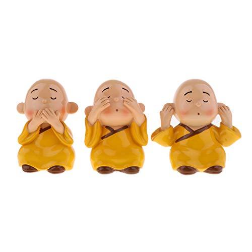 SM SunniMix 3pcs Figurine Décoratives Moine Objet Miniature en Résine Décor de Fête d'anniversaire pour Enfants
