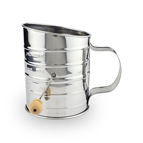Premium Quality Stainless Steel Hand Crank 3-cups Flour Sifter w/ Wooden Handle