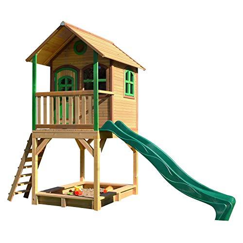 AXI Spielhaus Sarah mit Sandkasten & grüner Rutsche | Stelzenhaus in Braun & Grün aus FSC Holz für Kinder | Spielturm mit Wellenrutsche für den Garten