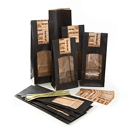 Logbuch-Verlag 10 bolsas de suelo flotante con ventana negra 8,5 x 5 x 26,5 cm con adhesivo hecho a mano – envasado de alimentos y té
