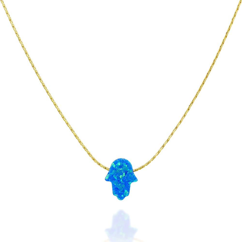 Blue Opal Hamsa Directly managed store on a Gold Filled Daint Necklace- Choker Bargain sale Handmade