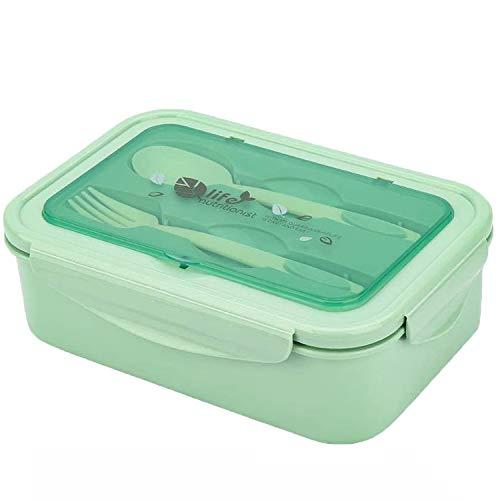 Caja de almuerzo, caja de Bento, 1000 ml, caja de Bento con 3 compartimentos y cubiertos, caja de almuerzo a prueba de fugas, adecuada para hornos de microondas y lavavajillas, salud duradera