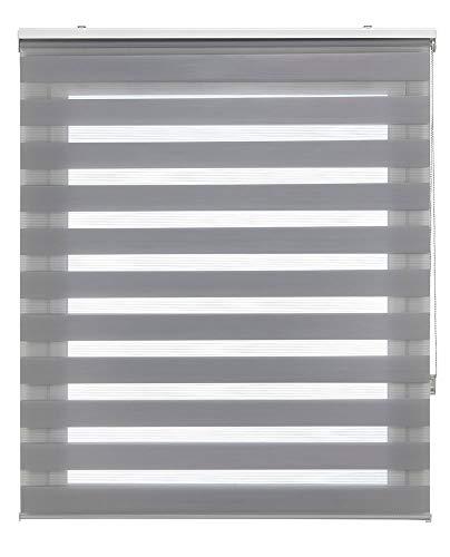 Estoralis Shae Estor Enrollable Doble Tejido, Noche y día, Gris, 105 x 175 cm