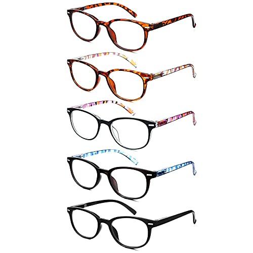 EFE Gafas de Lectura Presbicia Valor Pack 5 Hombre Mujer Unisex con Diseño de Patrón de Templo de Moda Buena Vision Anti Luz Azul Calidad Bisagras de Resorte Lectores 2.0