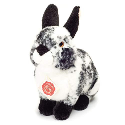 Teddy Hermann 93788 Hase sitzend schwarz-weiß gescheckt 22 cm, Kuscheltier, Plüschtier