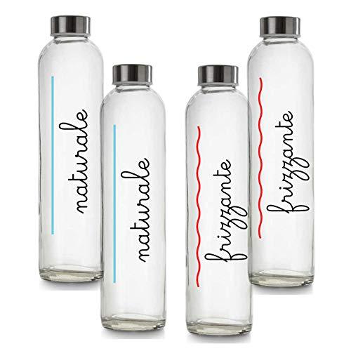 BrandPrint, Set di 4 Bottiglie in Vetro per Acqua Naturale e Frizzante Modello Eos 750 ml con Tappo a Vite in Acciaio Inox. Per Bevande e Succhi.