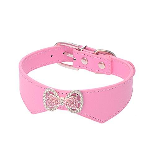 WINOMO Decorato Con Fiocchi PU Morbido Regolabile Collare Sicurezza Cucciolo - Taglia M (Rosa)