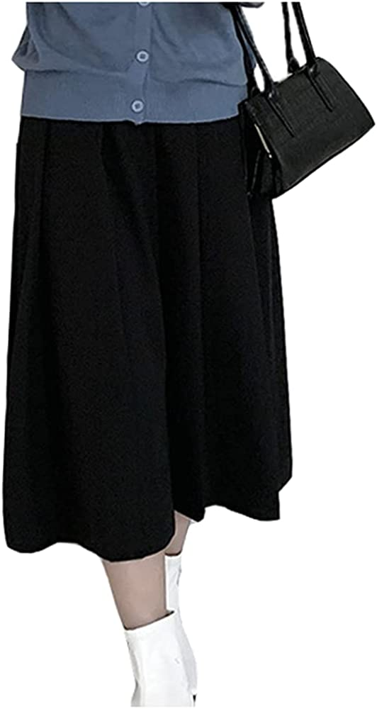Lghxlxry Women's Casual High Waist Comfy Solid Pleated A-Line Midi Skirt