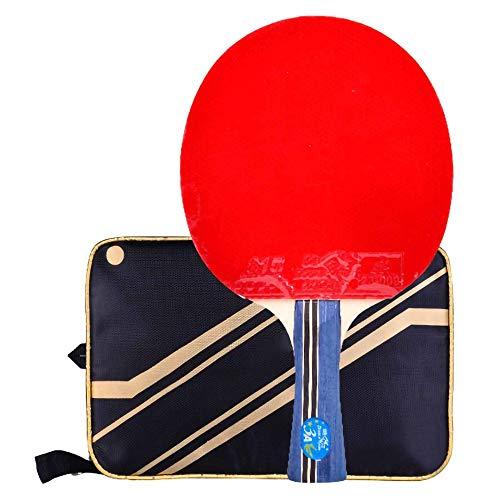Lerten Bate de Tenis de Mesa,Palas de Ping Pong 3 Star Arc Circle Raqueta de Ataque RáPido Mango CóModo con Excelente Velocidad de Giro Y Control/A/mango largo