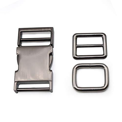 S-H Artisan-SH Klickverschluss Metall Fahrradhelm Verschluss, 53 x 30 mm Paracord Klickverschluss mit 2 Gurtversteller, Steckschnalle Kann für Helm/Rucksack/Paracord/Gurtband (Schwarz)