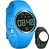 feifuns Non-Bluetooth Pedometer Watch Sport Wristband IP68 Swimming Water-Resistant Fitness Tracker with Accurately Track Steps/Distance/Calorie/Clock/Timer for Walking Running Kids Men Women(Blue)