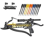 KingsArchery Crossbow Self-Cocking 80 LBS with Hunting Scope, Spare Crossbow String and Caps